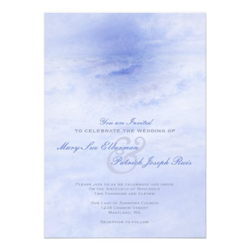 Ocean Wave: Pale Blue Wedding Invitation