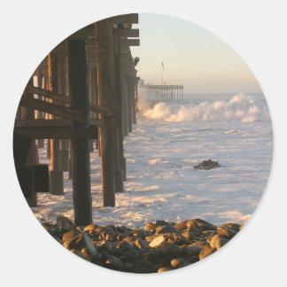 Ocean Wave Storm Pier Round Sticker
