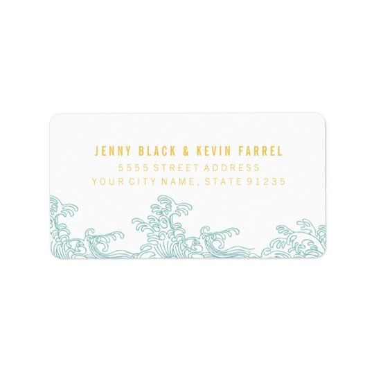 Ocean Waves Address Labels - Blue & Gold