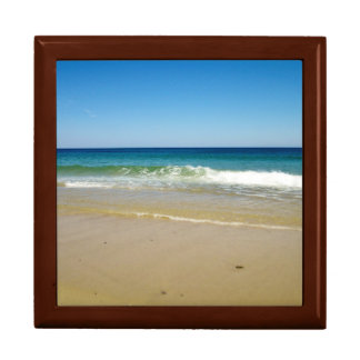 Ocean waves and beach large square gift box