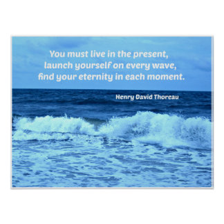 Ocean waves and quote by H.D. Thoreau Print