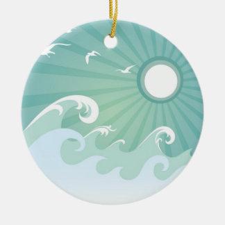 Ocean Waves and Sun Round Ceramic Decoration