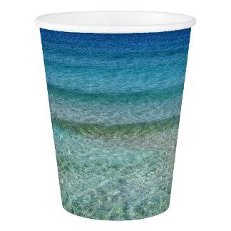 Ocean Waves Aqua Blue Abstract Art Paper Cups