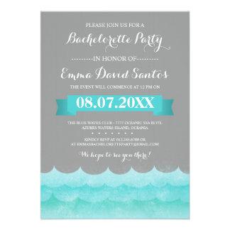 Ocean Waves Beach Bachelorette Party Custom Invites