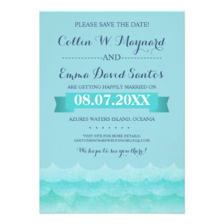 Ocean Waves Beach Save the Dates Cards