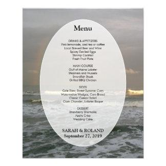 Ocean Waves Beach Wedding Menu Template Flyer