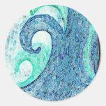 Ocean Waves Cameo Round Sticker