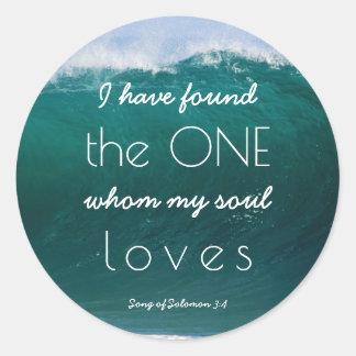 Ocean Waves Christian Beach Wedding My Soul Loves Classic Round Sticker