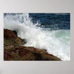 Ocean Waves Crashing against the Rocks Poster