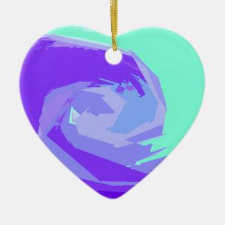Ocean waves Double-Sided heart ceramic christmas ornament