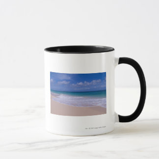 Ocean waves foaming onto sandy beach mug