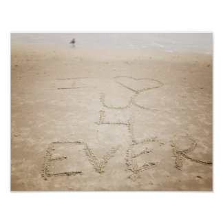 Ocean Waves I Love You Beach Poster