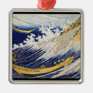 Ocean Waves Katsushika Hokusai masterpiece art Silver-Colored Square Decoration