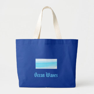 Ocean waves large tote bag
