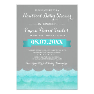 Ocean Waves Nautical Baby Shower Personalized Announcements
