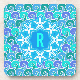 Ocean Waves Nautical Beach Starfish Monogram Blue Coaster