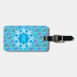 Ocean Waves Nautical Beach Starfish Monogram Blue Luggage Tag