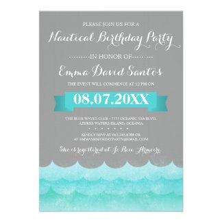 Ocean Waves Nautical Birthday Party Invites