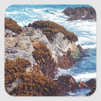 Ocean waves on coast square sticker