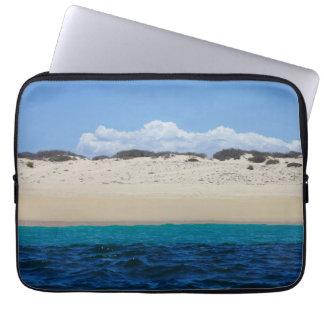 Ocean Waves On Sandy Beach Under Blue Sky Laptop Sleeve