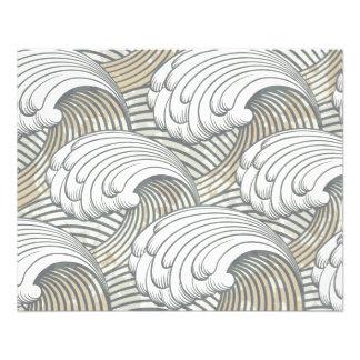 "Ocean Waves Pattern Ancient Japan Art 4.5"" X 5.6"" Flyer"