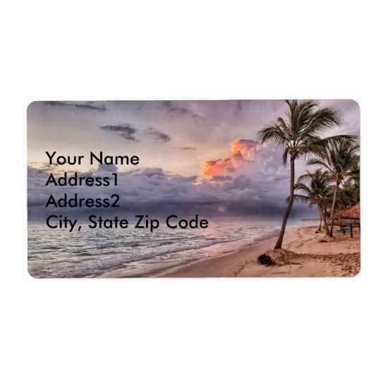 Ocean Waves Sandy Beach Sunset Shipping Label