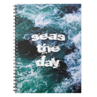 ocean waves sea blue quotes beautiful artsy book spiral notebook