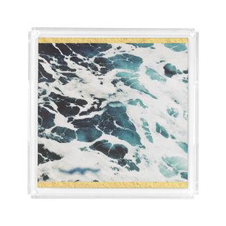 ocean waves sea nature blue water beautiful acrylic tray