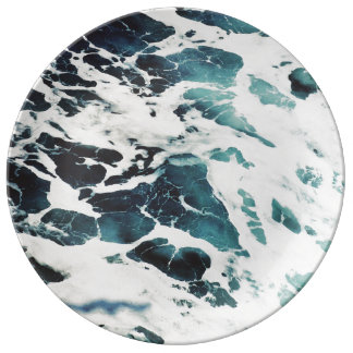 ocean waves sea nature blue water beautiful porcelain plates