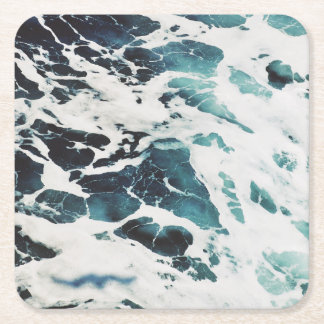 ocean waves sea nature blue water beautiful square paper coaster
