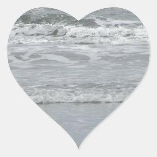 Ocean Waves Heart Sticker