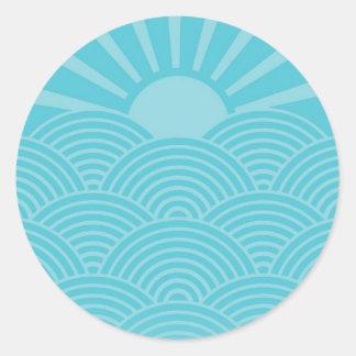 Ocean Waves Round Stickers
