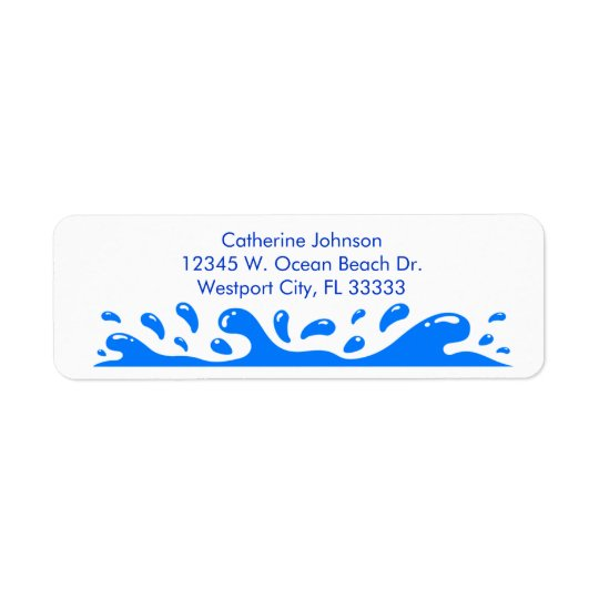 Ocean Waves Water Splash Personalised Blue Return Address Label