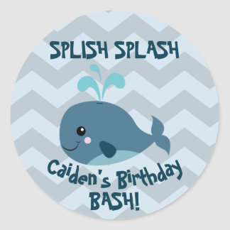 Ocean Whale themed Birthday Party Sticker