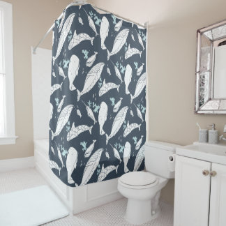 Ocean Whales Shower Curtain by idyl-wyld