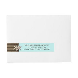 Ocean Wood and Starfish Wraparound Address Label