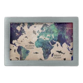 ocean world map belt buckle