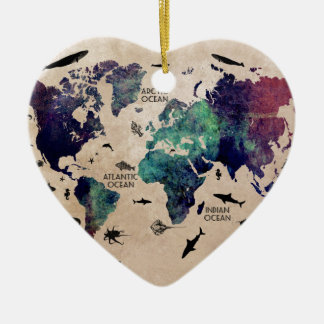 ocean world map ceramic heart decoration
