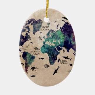 ocean world map ceramic oval decoration