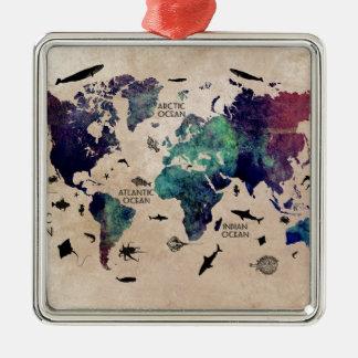 ocean world map christmas ornament
