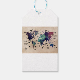 World map gift tags zazzle ocean world map gift tags gumiabroncs Image collections