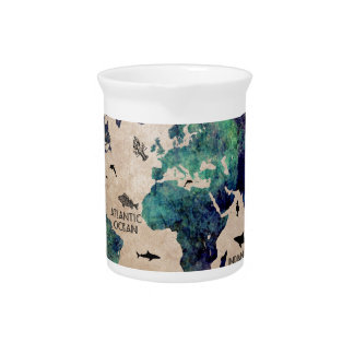 ocean world map pitcher