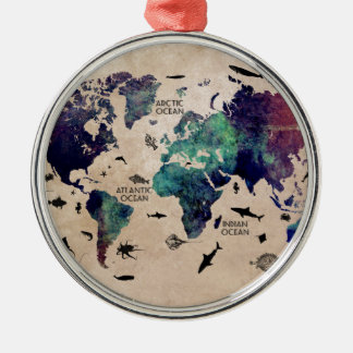 ocean world map Silver-Colored round decoration