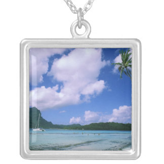 Oceania, French Polynesia, Tahiti. View of Silver Plated Necklace