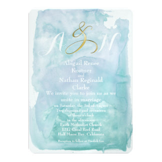 Oceanic Blue Watercolor Wedding Invitations