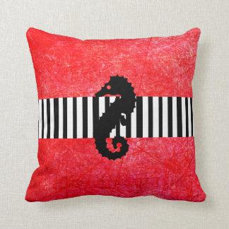 Oceanic Nautical Seahorse Anchor Blue Red Pillow