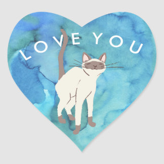 Oceanic Siamese Cat Love You Heart Sticker