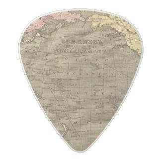 Oceanica Hand Colored Atlas Map Acetal Guitar Pick