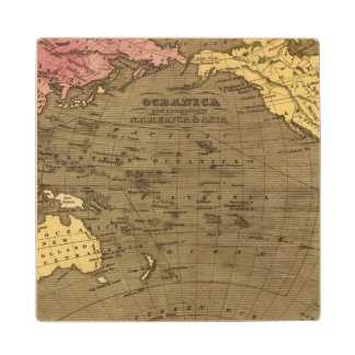 Oceanica Hand Colored Atlas Map Wood Coaster