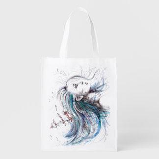 """""""Oceans"""" Girl surreal original art Reusable bag"""